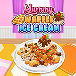 Sorvete gostoso de waffle